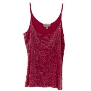 Michael Kors Pink Sequin Spaghetti Strap Top XL